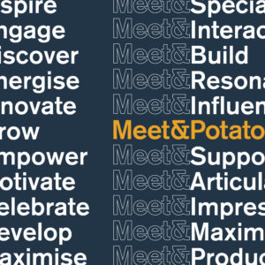 Meet & Potato rebrand with new logo system. Graphic images shows various couplings of the word, Meet with positive power words such as; Influence, Inspire, Celebrate, Motivate, etc.