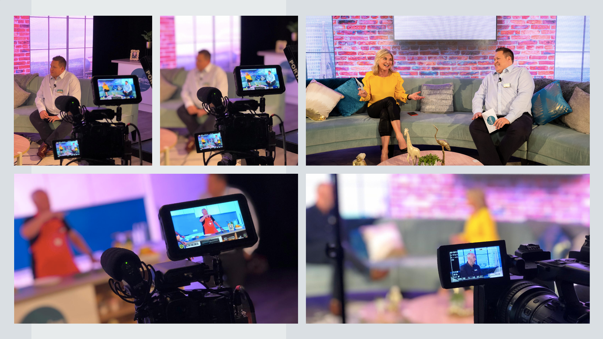 Meet & Potato TV studio set up to pre-record video content for a virtual event. The presenters, Anthea Turner and Poundland retail director, Austin Cooke sit on a sofa surrounded by a film crew in the style of daytime TV shows.